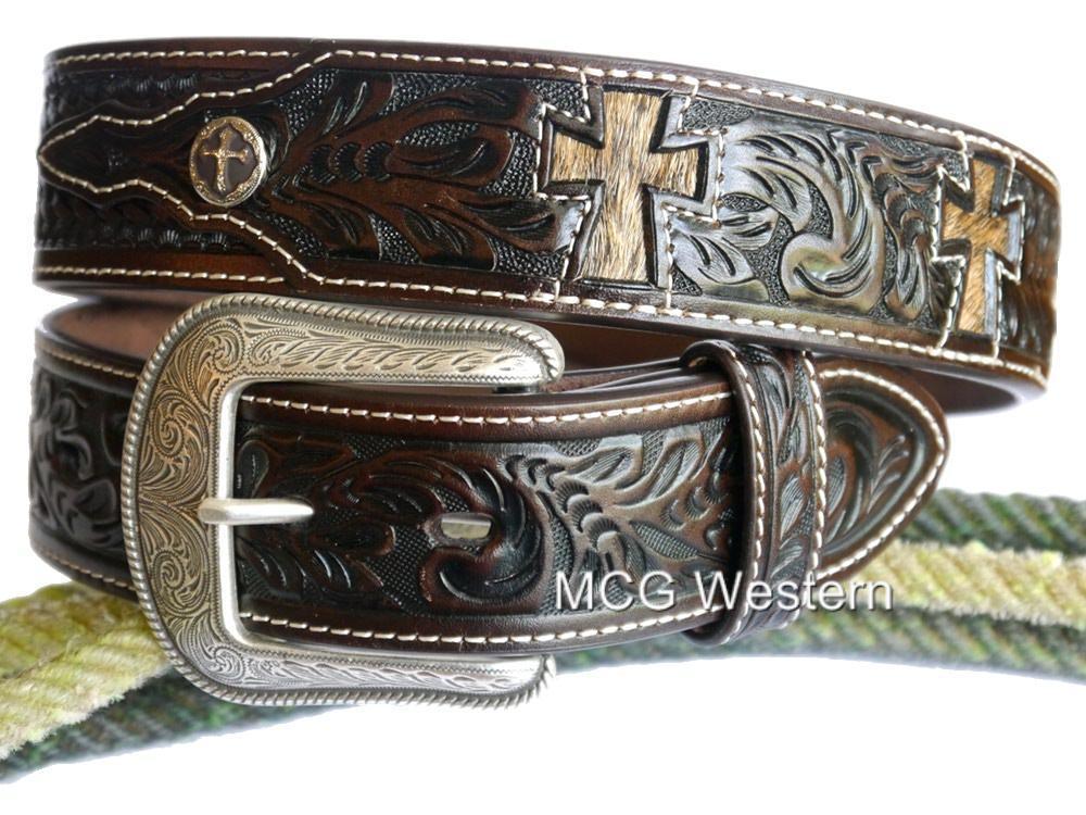 3d western mens belt leather tooled cross cutout conchos