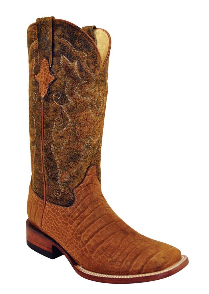 ferrini western cowboy boots mens gator suede honey