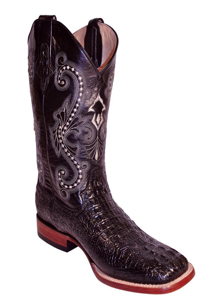 ferrini western cowboy boots mens caiman gator black s toe