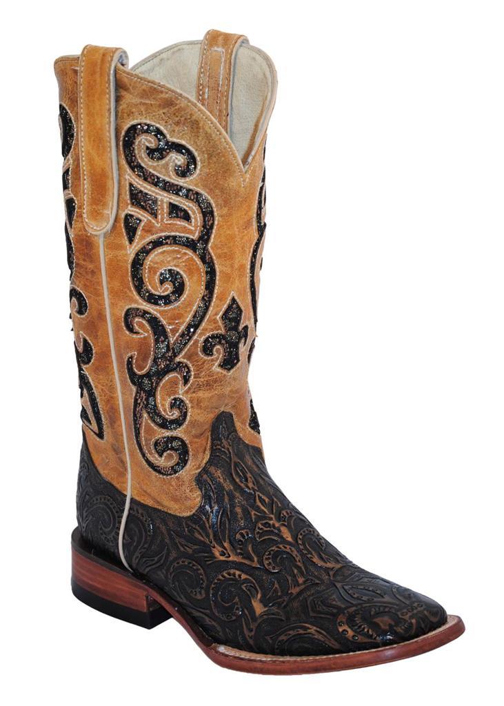 ferrini western cowboy boots womens embossed square toe