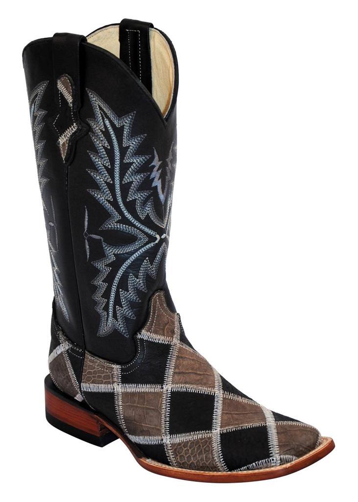 ferrini western cowboy boots womens patchwork black gray