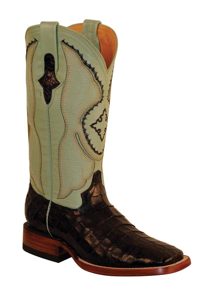 ferrini western boots womens caiman belly gator black mint