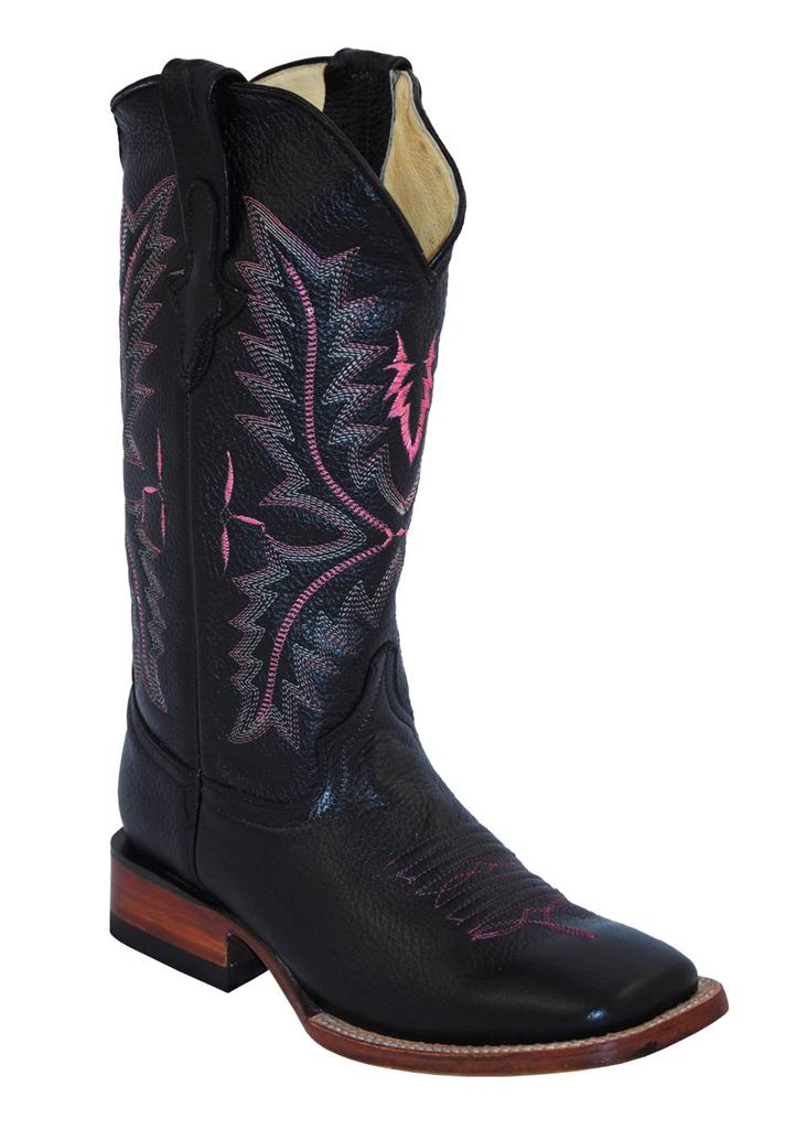 ferrini western boots womens stitched black square toe