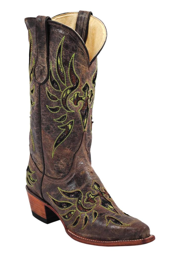 ferrini western boots womens laser cross bling brown green