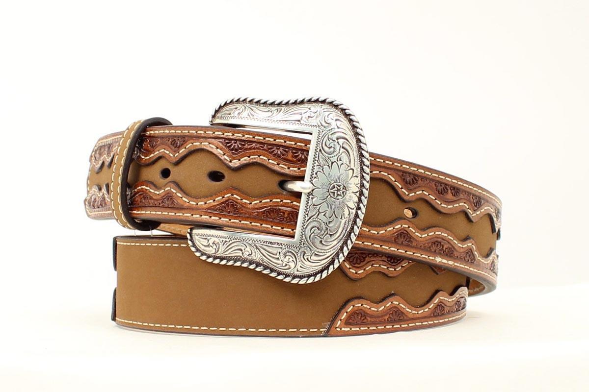 nocona western mens belt leather saddle st brown