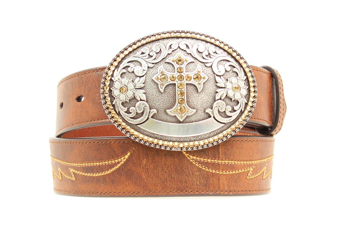 ariat western womens belt embroidered wings leather cross