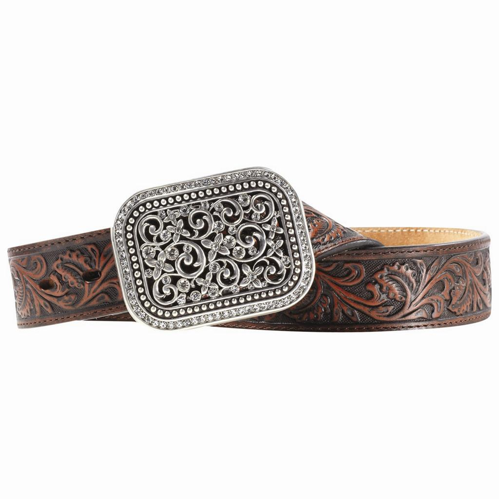 Ariat Western Womens Belt Leather Filigree Rhinestone ...