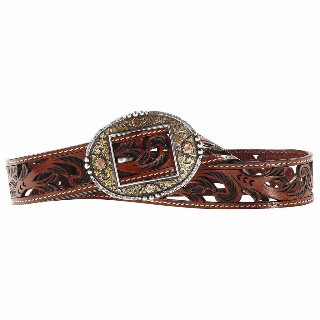 ariat western womens belt leather antique brown
