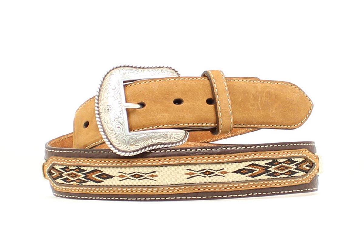 nocona western mens belt leather southwest brown n2484802