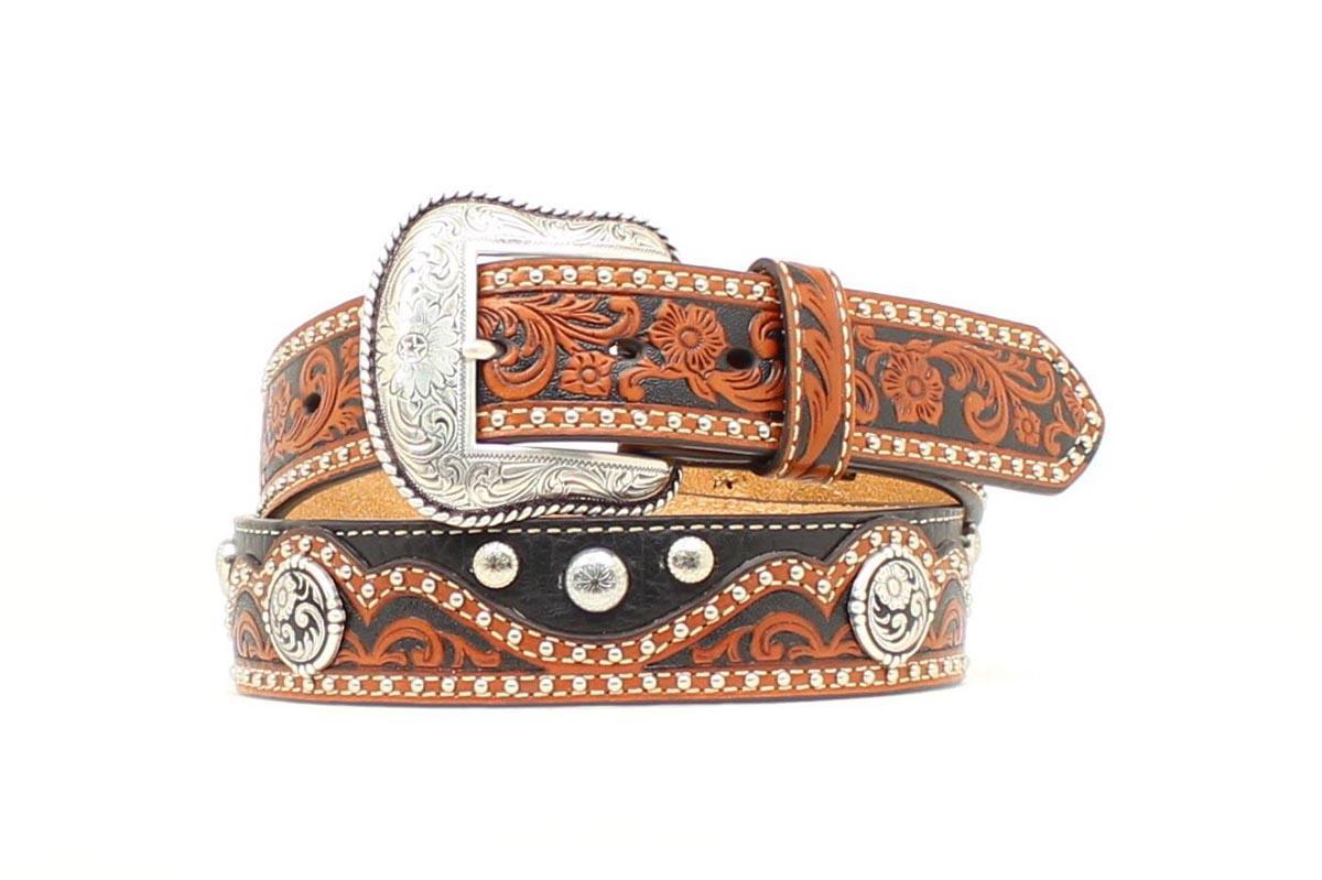 nocona western mens belt leather tooled studs black brown