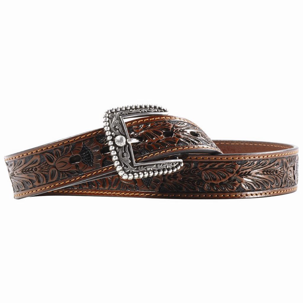 ariat western leather range mens belt antique brown