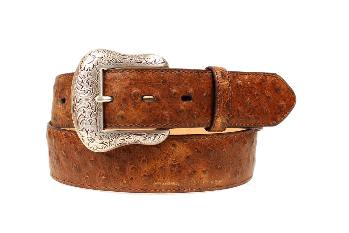 nocona western mens belt leather ostrich print brown