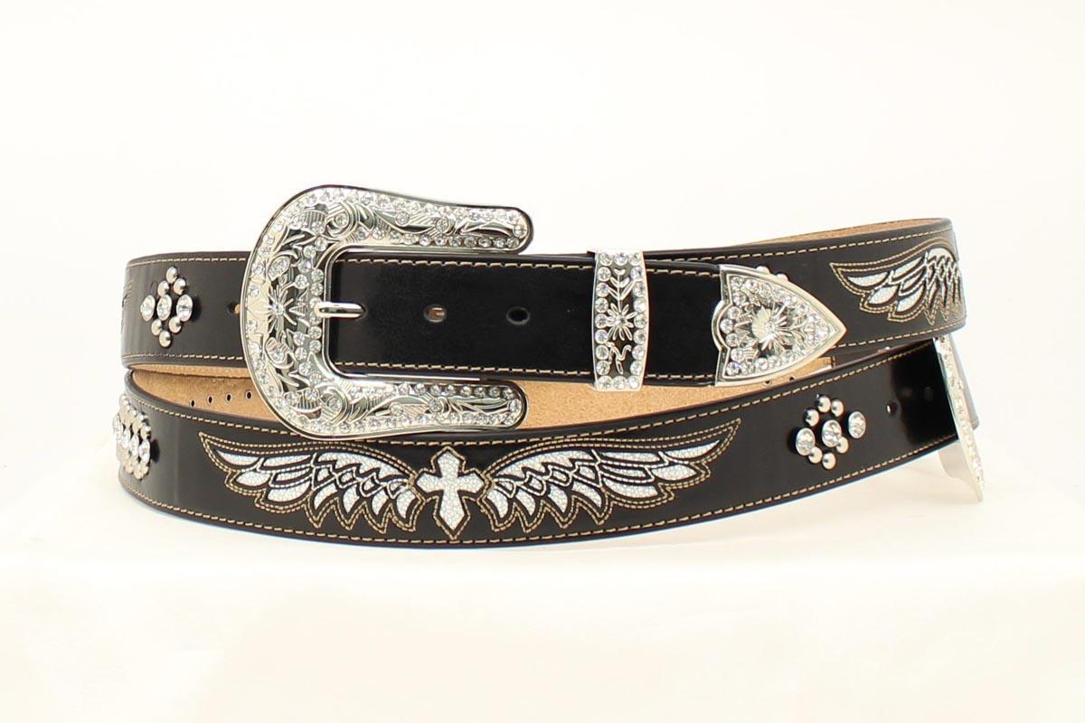 nocona western belt womens leather cross wings bling black