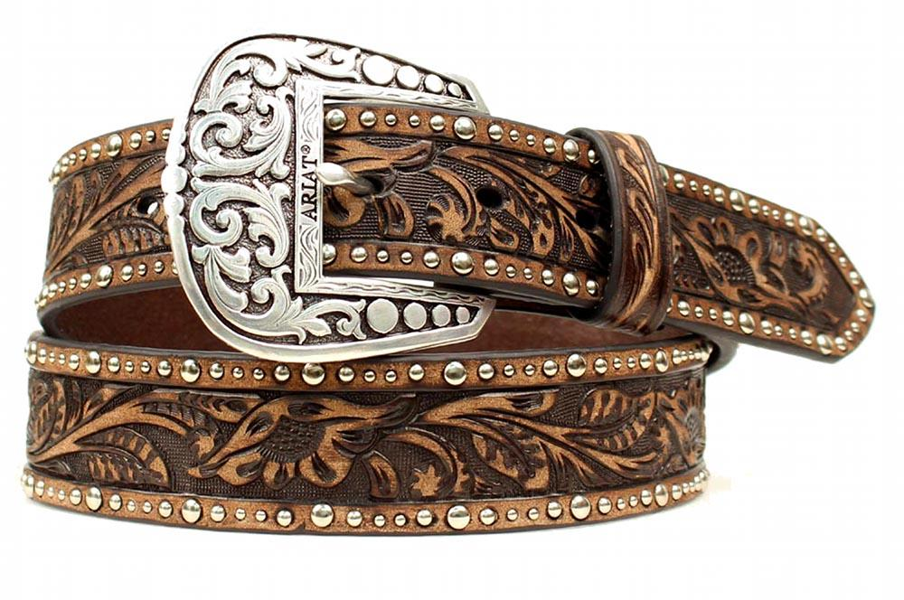 ariat western womens belt leather embossed inlay nail