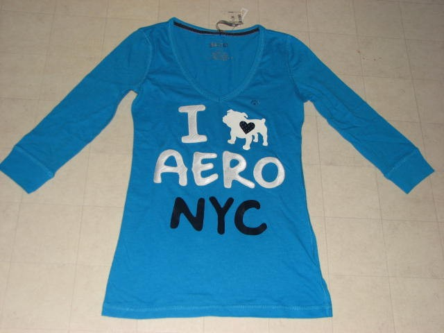 Aeropostale-3-4-Sleeve-V-Neck-Shirt-Women-Red-White-Blue-S-M-L-NWT-29-50