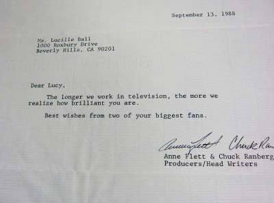 Lucille Ball I LOVE LUCY personal letter from KATE & ALLIE Producer