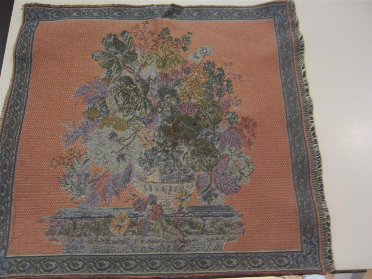 Tapestry Woven Italy Basket Of Flowers Border Gray Chair