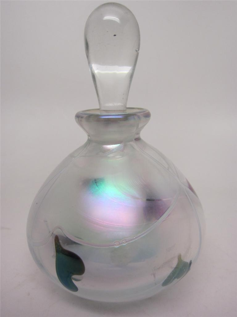Vintage Glass Act Art Perfume Bottle Iridescent Hearts ...