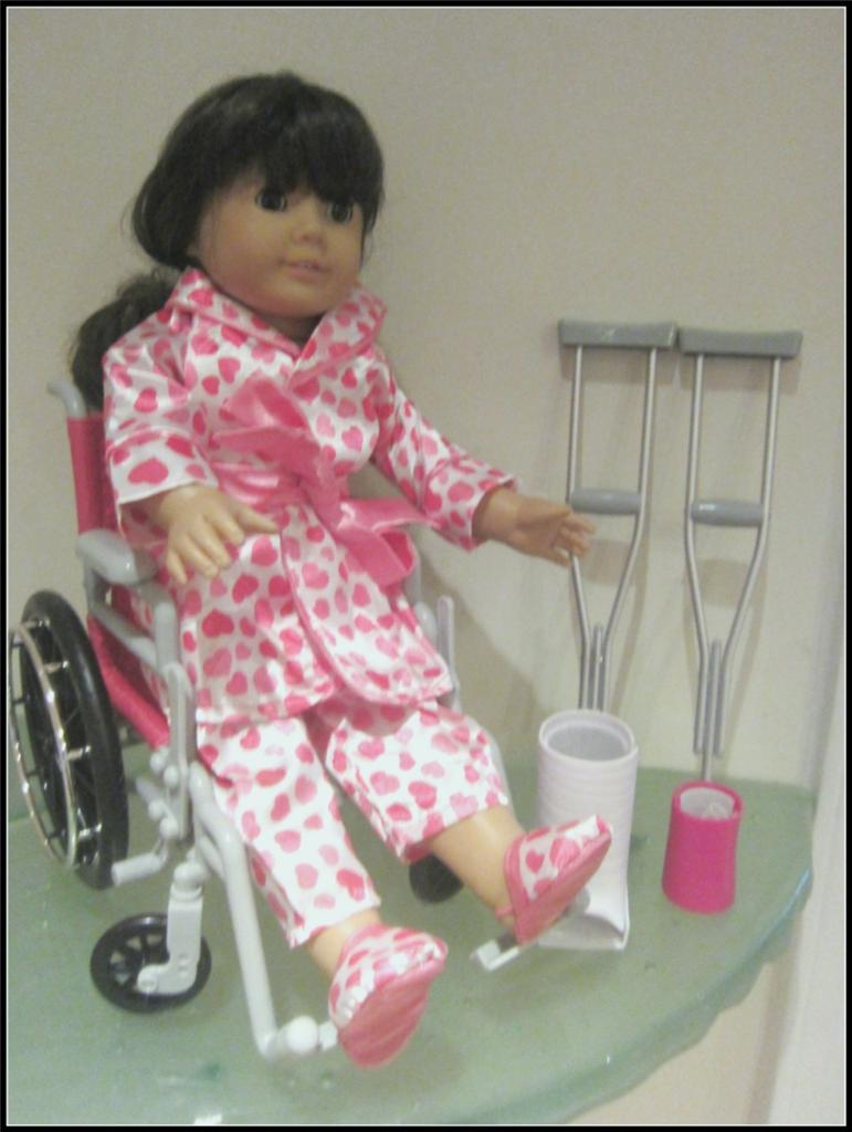 Doll Leg Cast http://www.ebay.com/itm/18-American-Girl-sz-Doll-Wheelchair-Crutches-Cast-Satin-Pajamas-Robe-9pc-NIB-/390548100201
