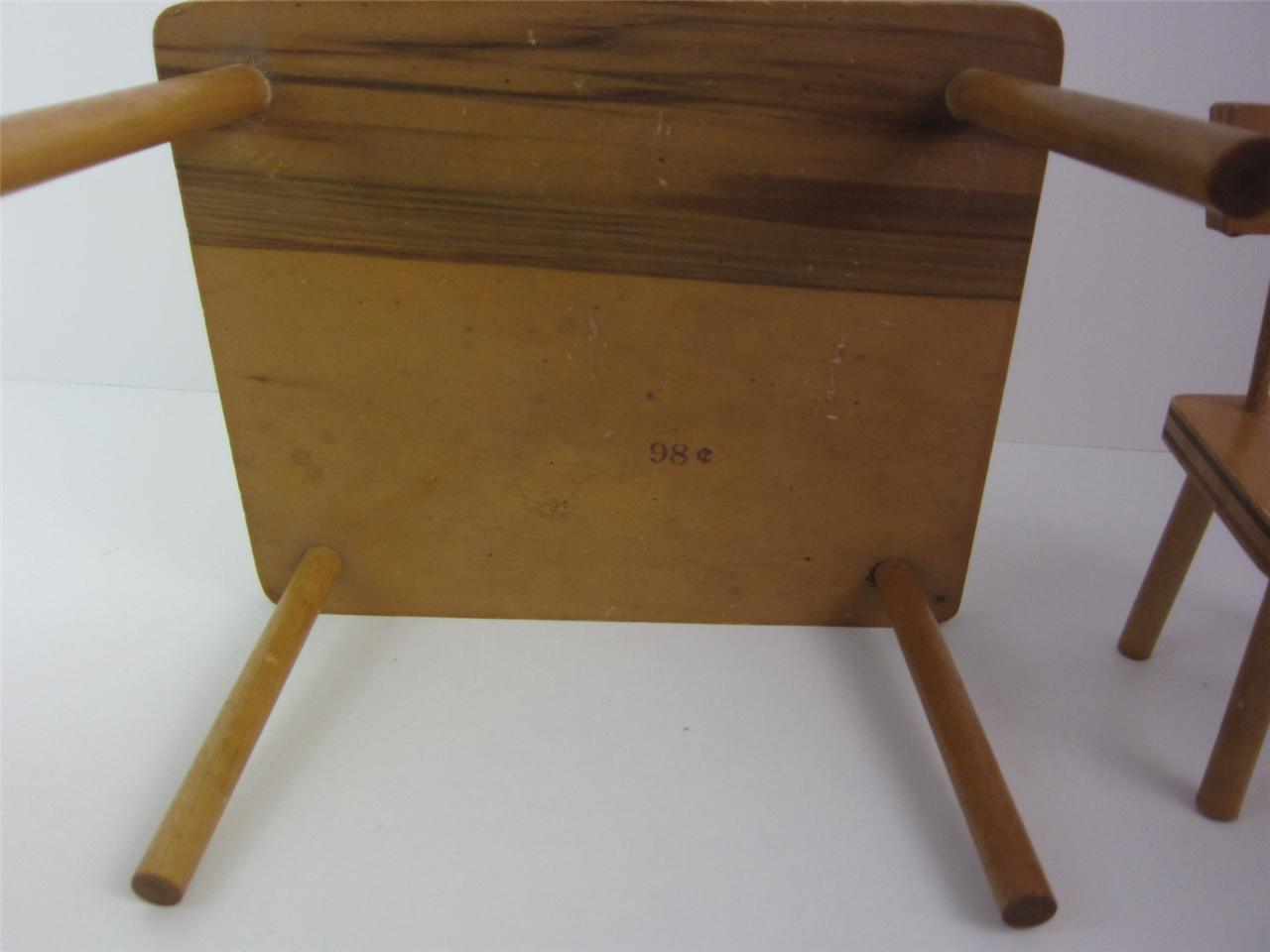 1950 S Wood Furniture ~ Doll furniture pc set s kitchen table chairs ginny