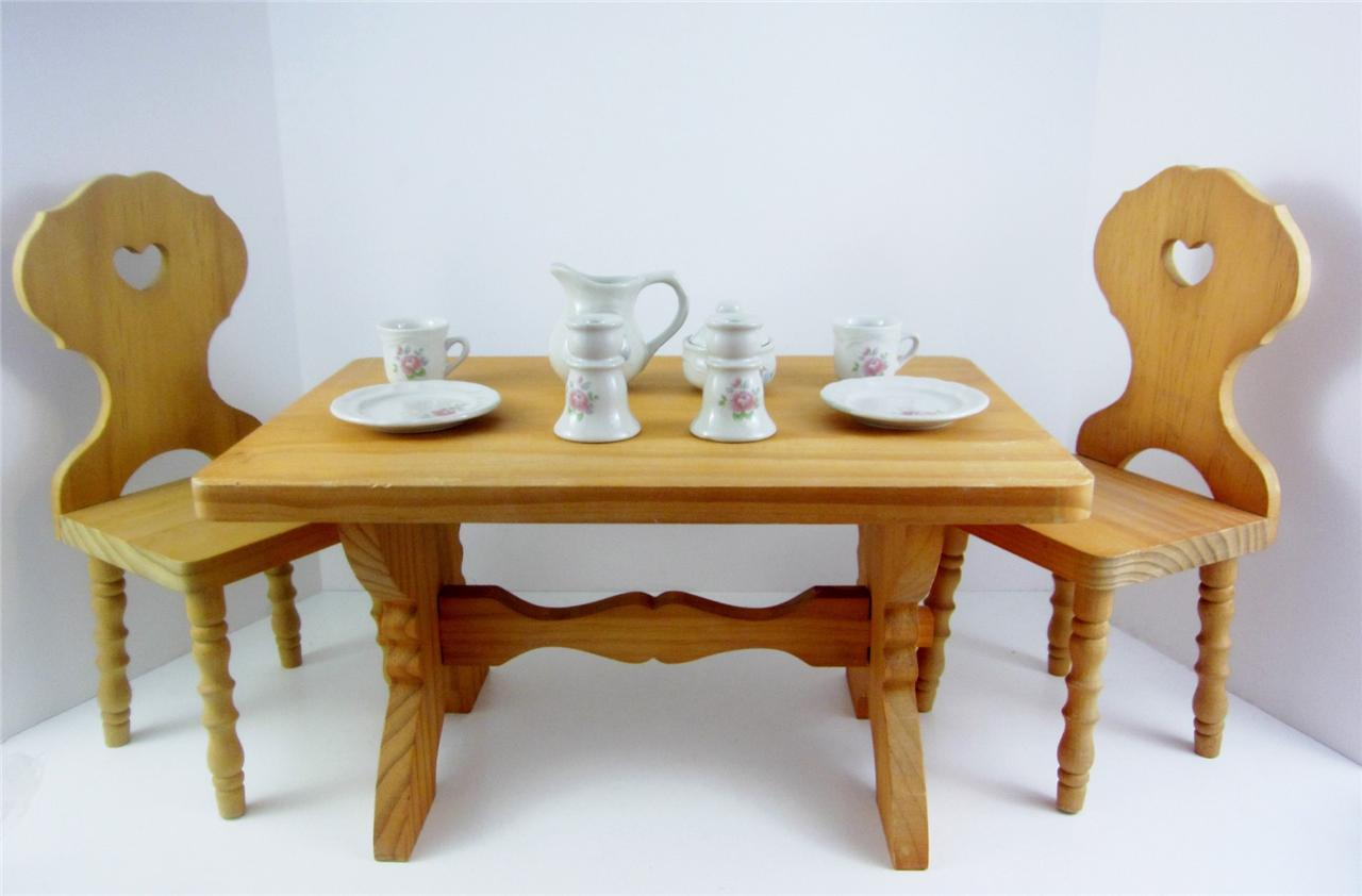 american girl original kirsten retired trestle table 2 chairs doll tea set ebay. Black Bedroom Furniture Sets. Home Design Ideas