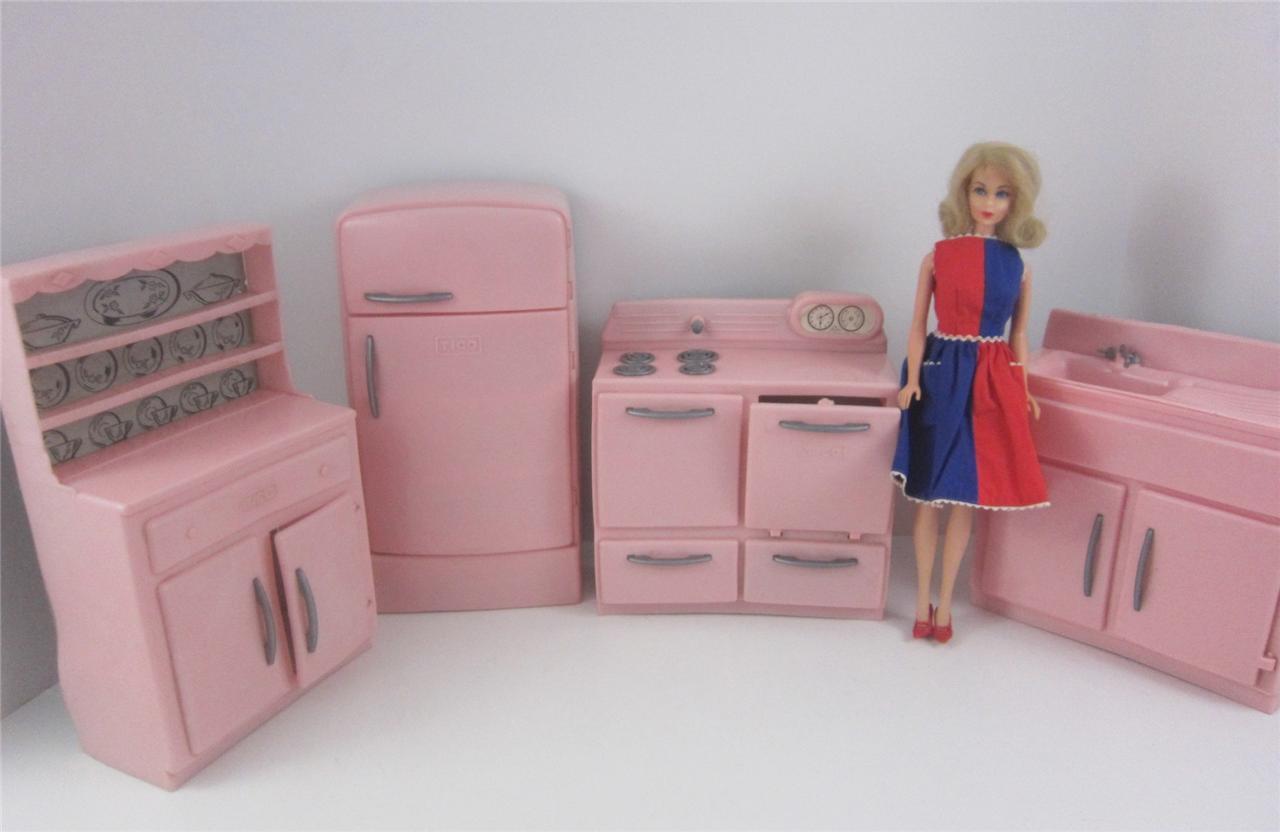 Tico Vintage 1950 39 S Pink Plastic 4p Kitchen Furniture Set