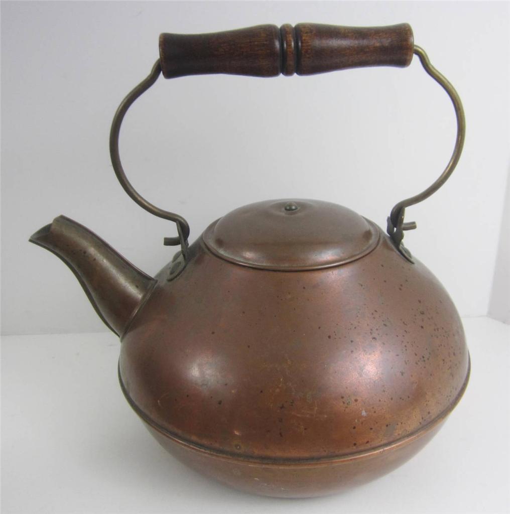 Antique Solid Copper Tea Kettle Pot Revere Ware Rome Ny