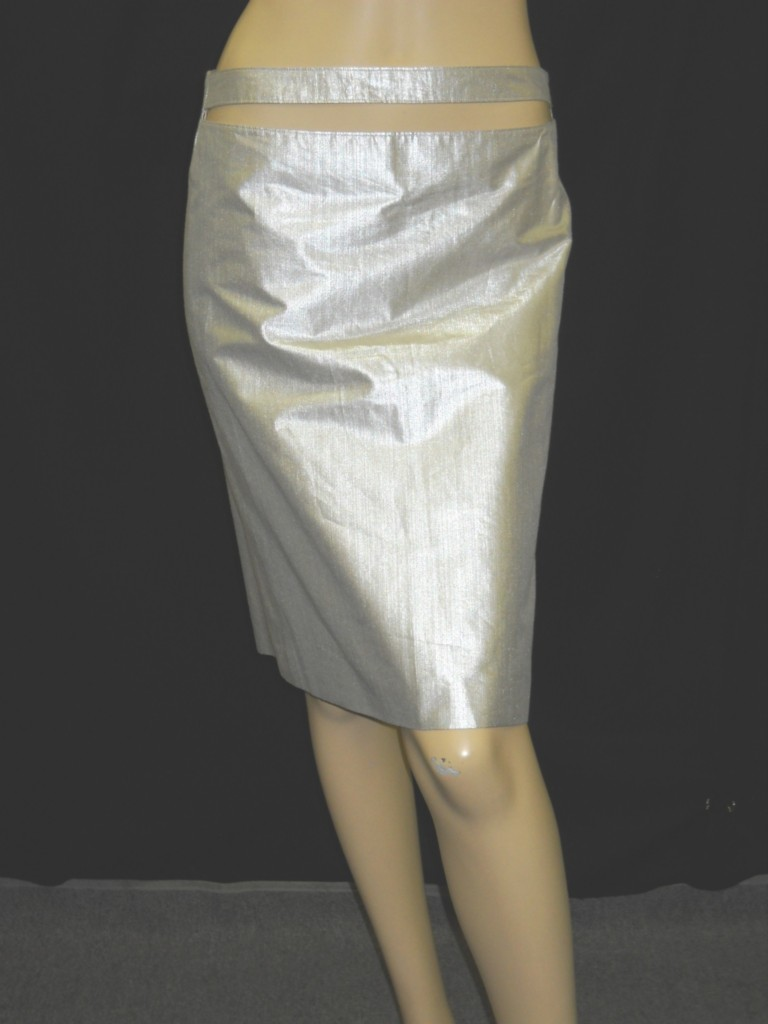 NWOT-JIL-SANDER-Silver-Front-Cut-Out-Skirt-36-4-590