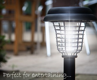 Solar Powered LED Light Insect Bug Zapper UV Mosquito