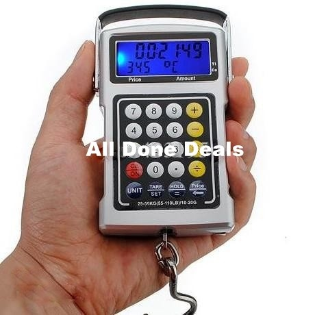 Electronic fish hook 50kg luggage weighing scales 7in1 for Fish weighing scales