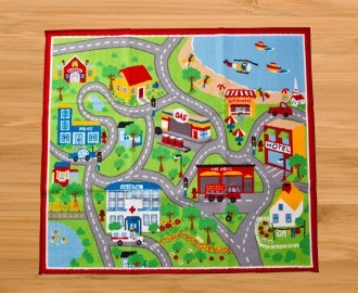 Childrens Road Map Floor Rug Kids Play Mat City Road Car
