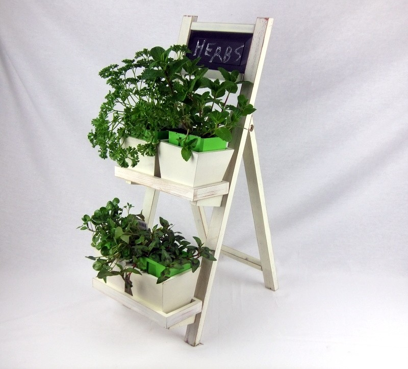 Herb Garden Pot Plant Stand In Shabby Chic Distressed Wood