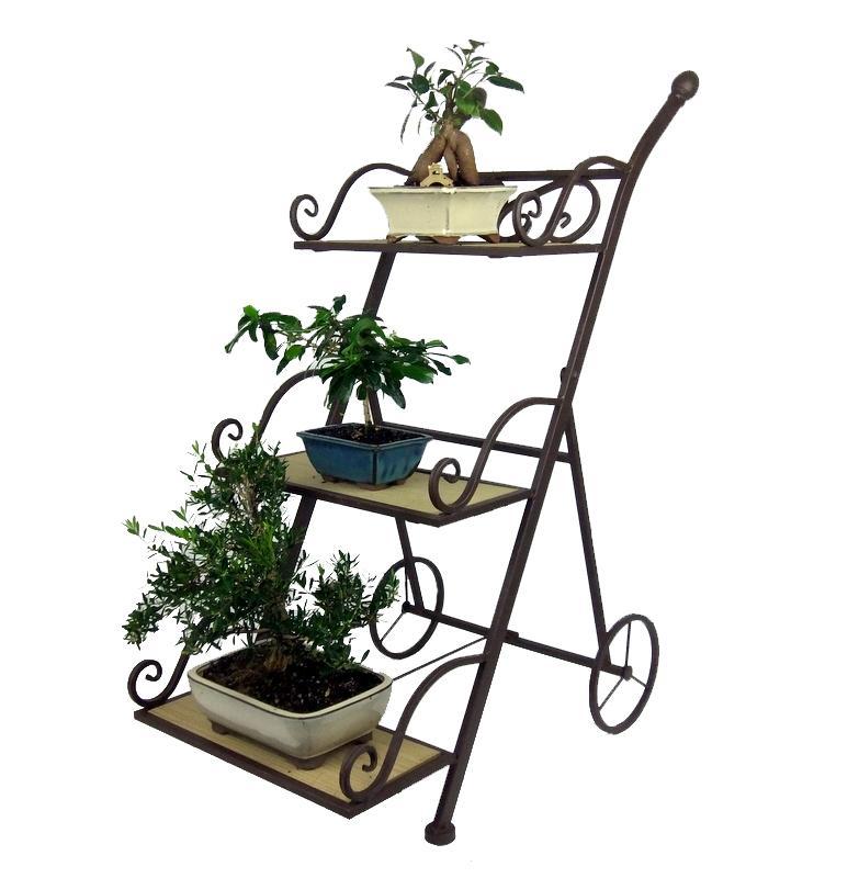 Trolley Pot Plant Stand Metal 3 Tier Garden Shelves