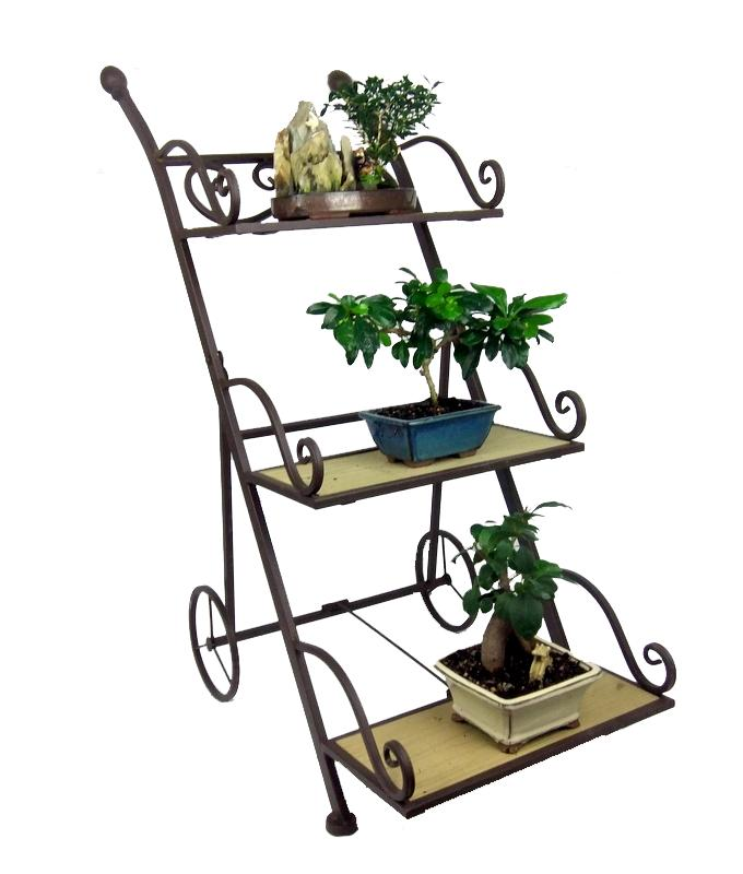 Trolley pot plant stand metal 3 tier garden shelves - Tier plant stand outdoor ...