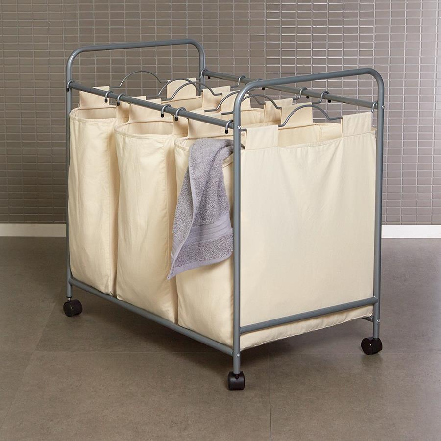 laundry sorter hamper cart 3 washing laundry clothes basket trolley w wheels ebay. Black Bedroom Furniture Sets. Home Design Ideas