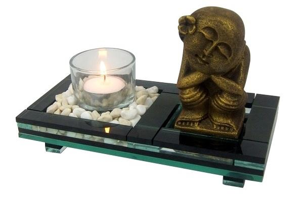 Decor tea light buddha candle holder zen stone garden tray for Deco mural zen