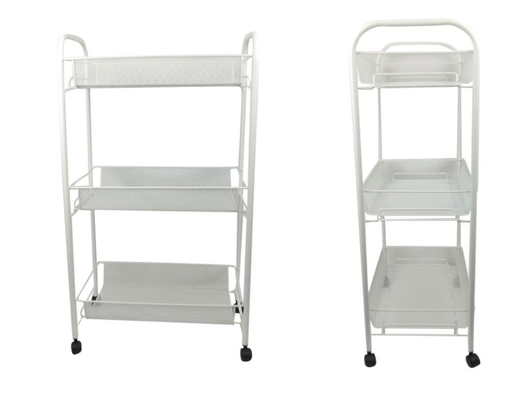 White bathroom storage trolley 3 tier toiletry linen cart for Bathroom cart on wheels