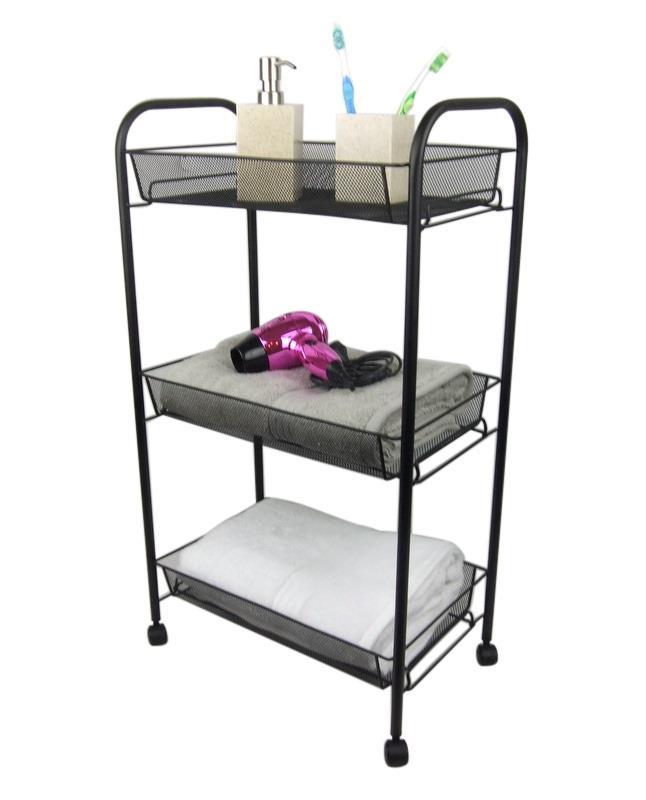 Black bathroom storage trolley 3 tier toilet linen towel - Bathroom storage on wheels ...