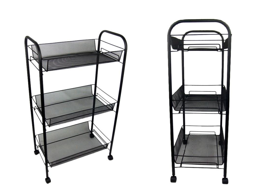 3 tier bathroom storage trolley toiletry linen cart black - Bathroom storage on wheels ...