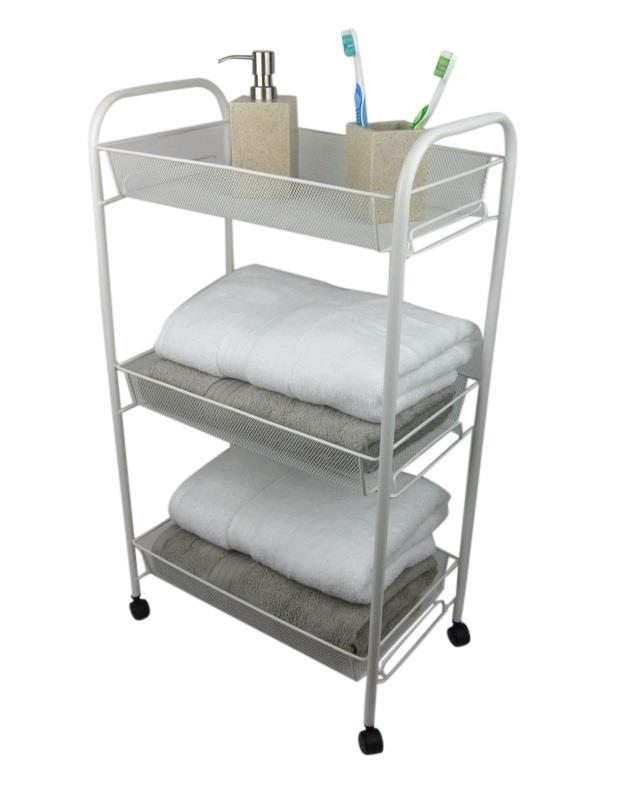 White bathroom storage trolley 3 tier toiletry linen cart - Bathroom storage cart with wheels ...