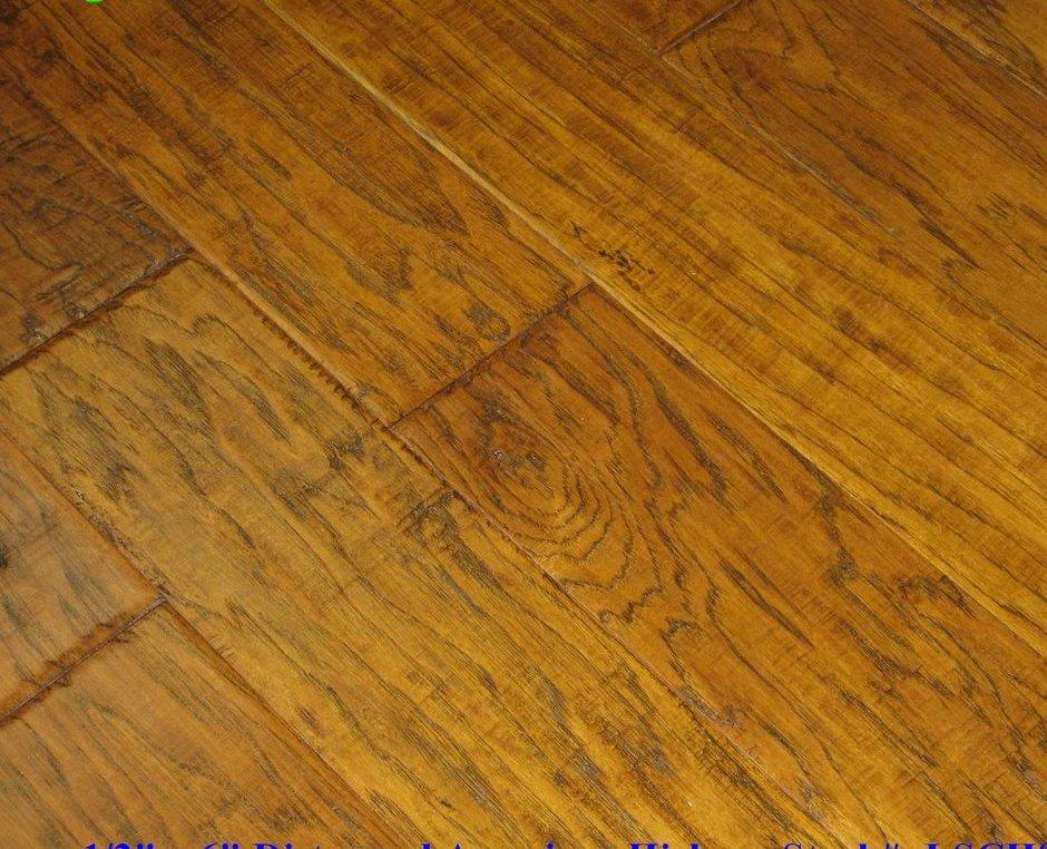 Engineered distressed hand scraped hickory caramel for Distressed wood flooring