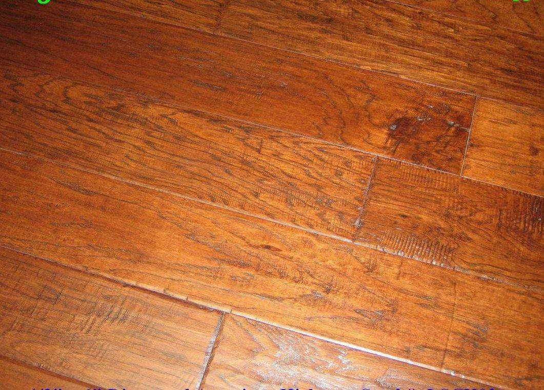 Engineered distressed hand scraped hickory irish coffee for Distressed wood flooring