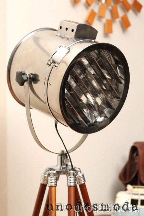 Designer chrome wallnut nautical search light modern for Eden 3 light tripod floor lamp chrome