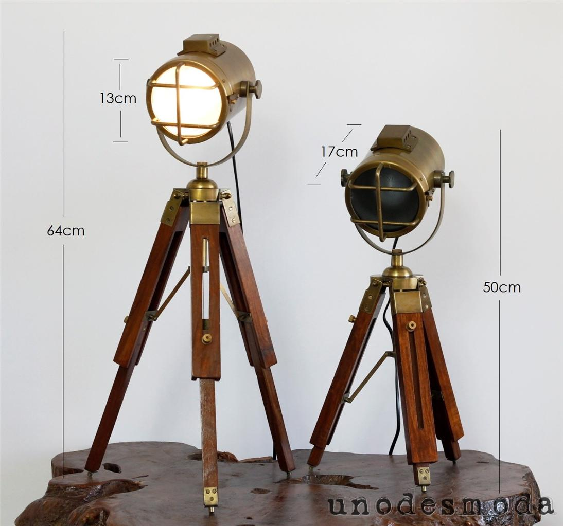brass tripod nautical spot light table lamp bedside ud sis1 ebay. Black Bedroom Furniture Sets. Home Design Ideas