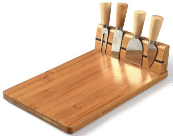 Designer 5 Piece Bamboo Timber Cheese Board Knife Cutting Chopping Serving Set Ebay