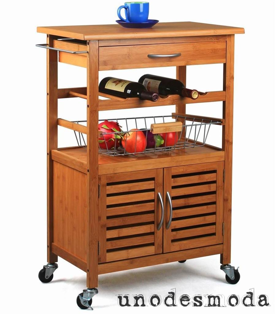 Quality Bamboo Kitchen Island Bench Serving Tray Trolley Cutting Block Wine Rack Ebay
