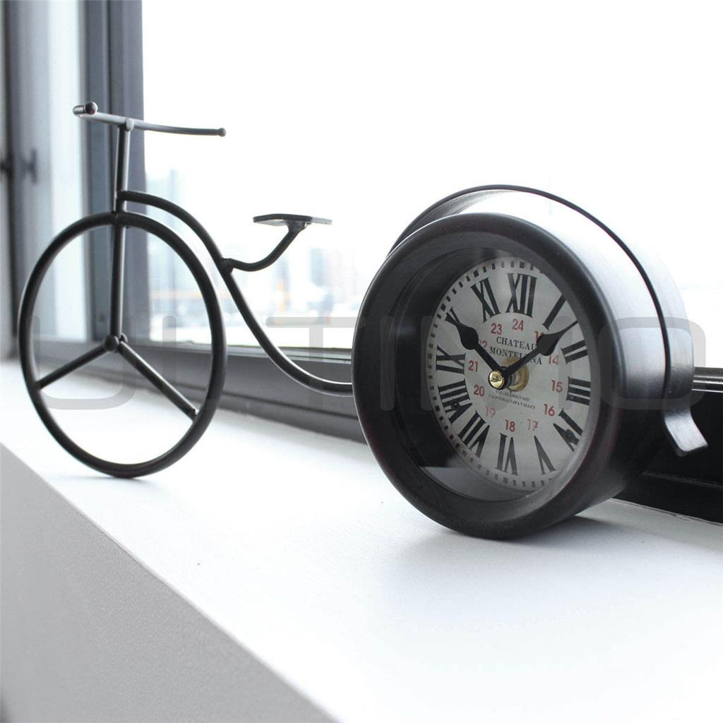 Bike Design Wall Clock : Black metal mantle bicycle clock designer modern table