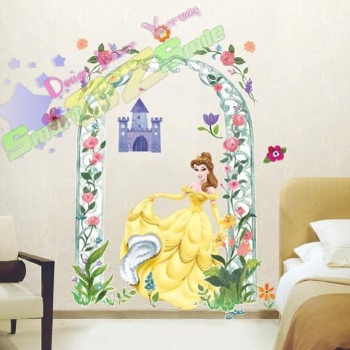 Chai bw disney princess castle giant wall decal sticker for Barbie princess giant wall mural