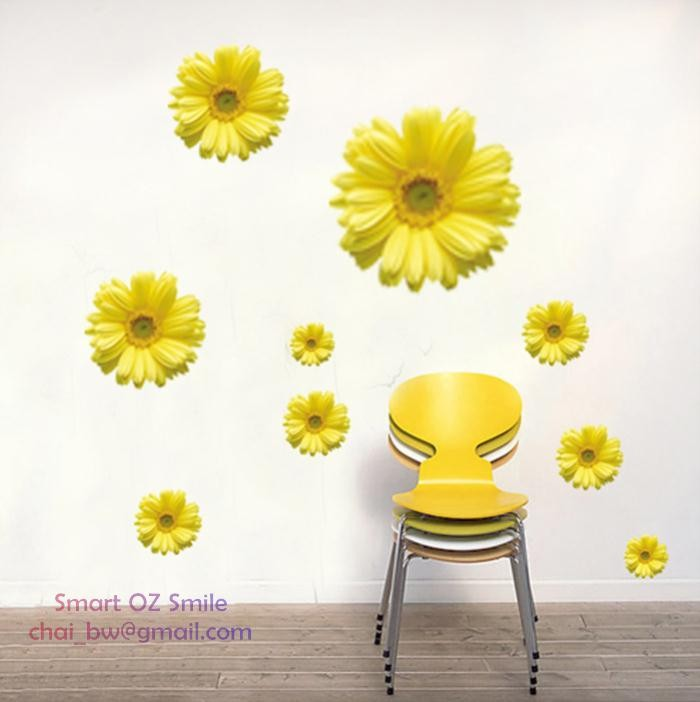 Yellow Flowers Wall Decor : Yellow daisy art flowers removable wall decor