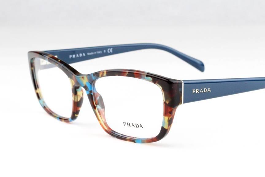 New Prada VPR18O Eyeglasses Frames Blue Havana Marble NAG ...